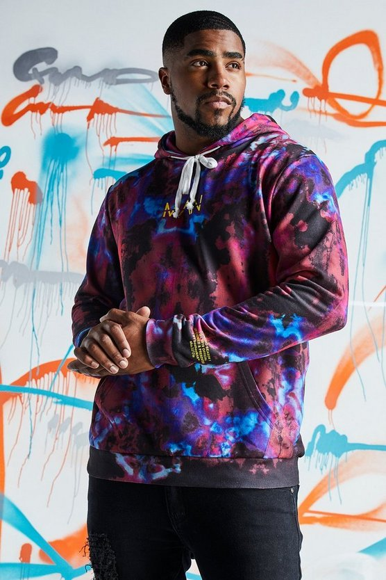 Mens Red Big & Tall Quavo Tie Dye Hoodie With Print