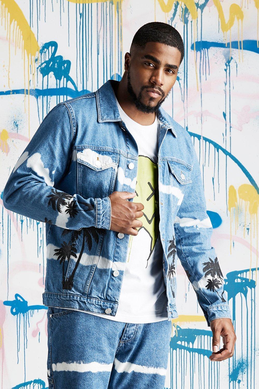 580a9f10501 Big   Tall Quavo Palm Tie Dye Denim Jacket - boohooMAN
