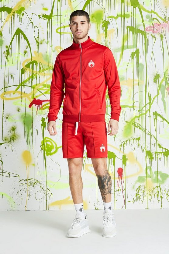 Mens Red Quavo Tricot Funnel Neck Short Tracksuit