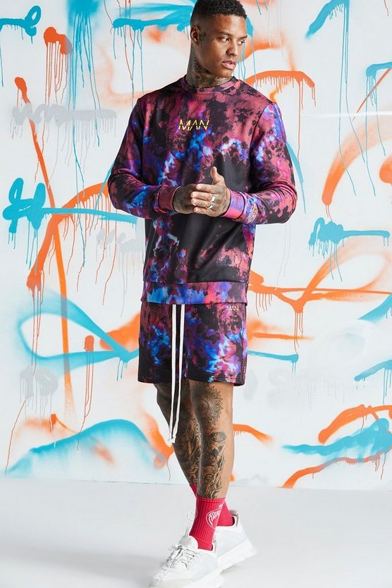 Quavo Tie Dye Sweater Short Tracksuit With Print