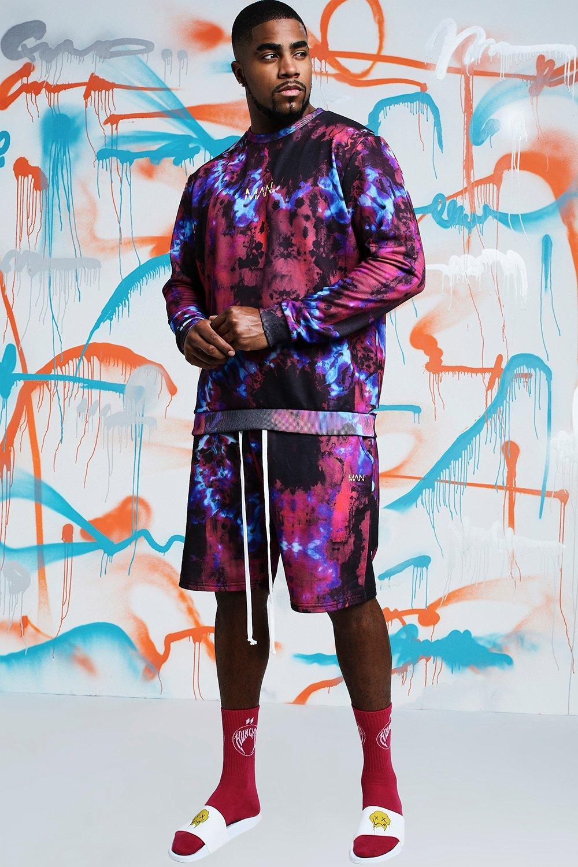 c97ae2601a3 Big   Tall Quavo Tie Dye Printed Short Tracksuit - boohooMAN