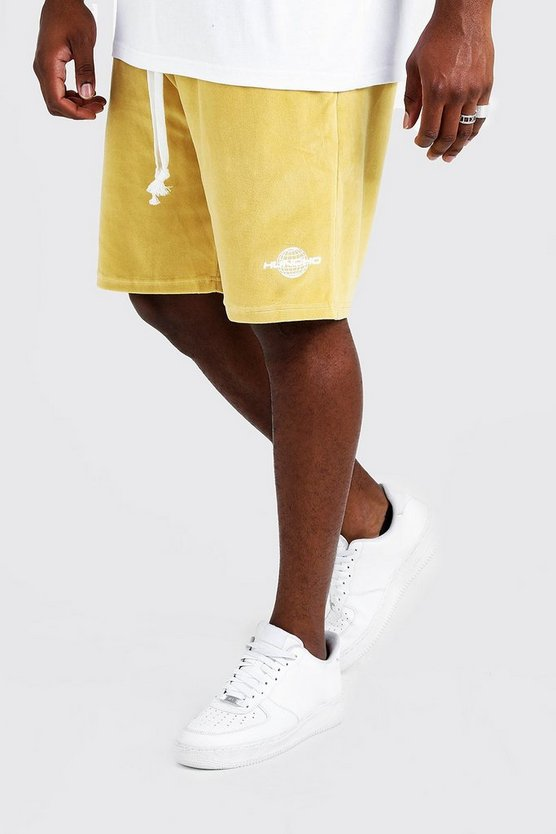Mens Gold Big & Tall Quavo Velour Short With Print