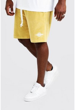 Big & Tall Shorts aus Velours in Quavo-Design mit Print, Gold, Herren
