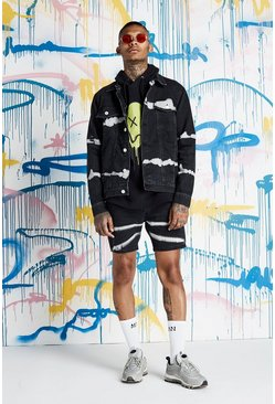 Mens Quavo Black Tie Dye Denim Jacket