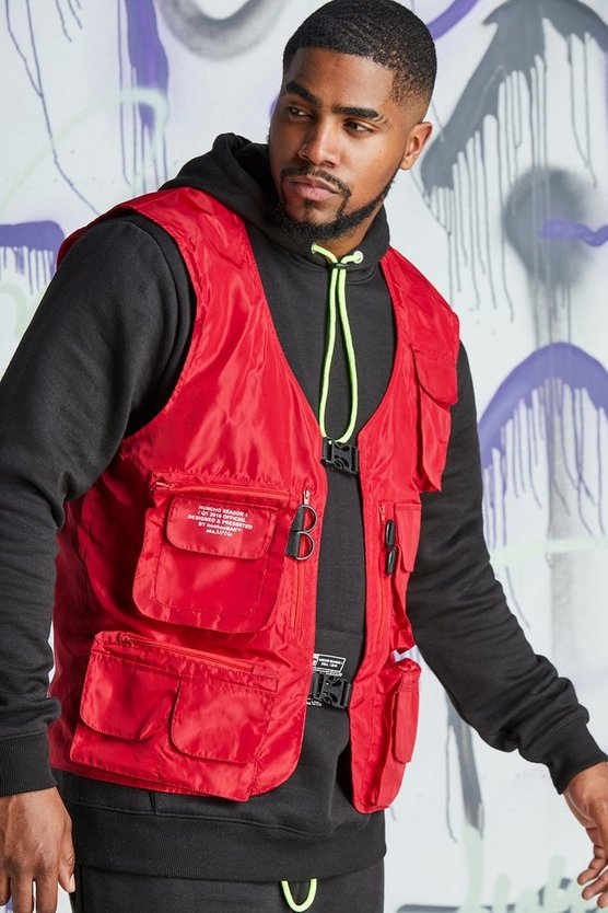 Red Big & Tall Quavo Nylon Military Buckle Vest