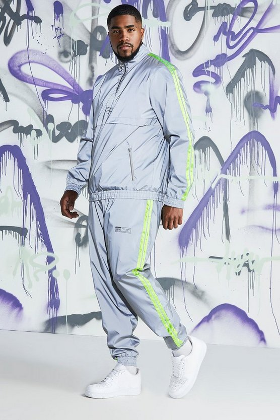 Mens Grey Big & Tall Quavo Reflective Cagoule With Tape