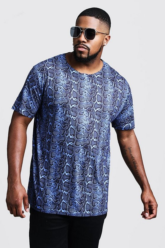 Blue Big And Tall Snake Print Jersey Tee