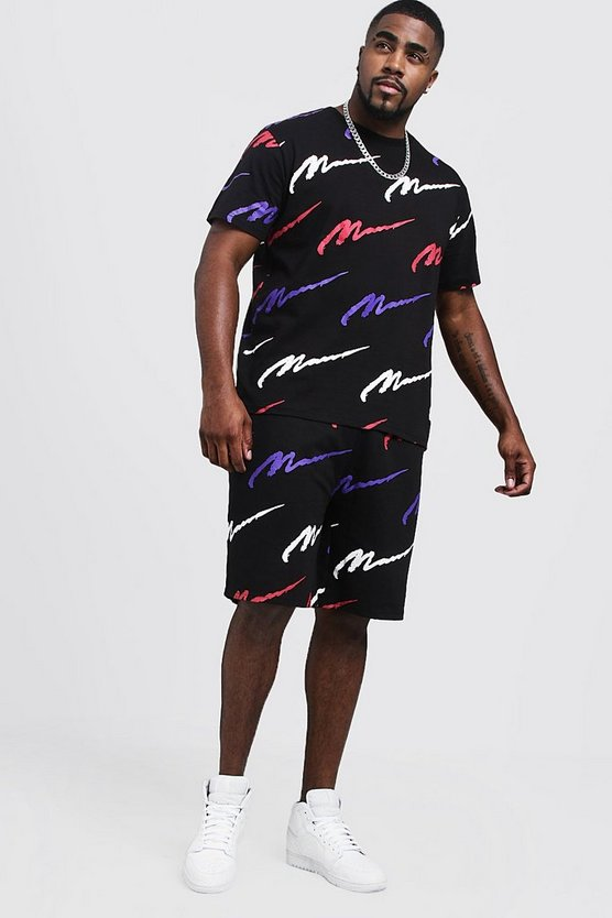 Mens Black Big & Tall MAN Printed T-Shirt & Short Set