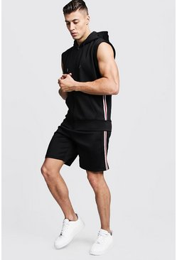 Mens Black Scuba Sleeveless Hooded Taped Short Tracksuit