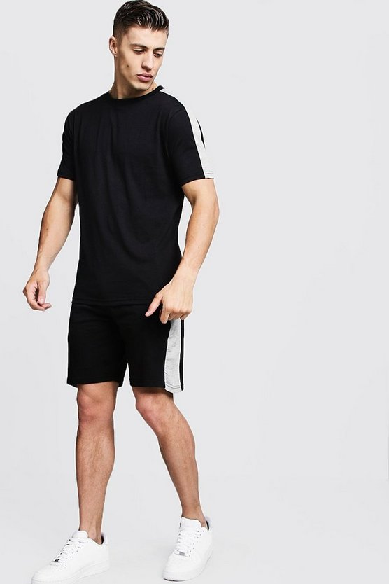T-Shirt & Short Set With Contrast Panels