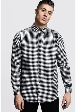 Mens Black Longline Long Sleeve Mono Check Shirt