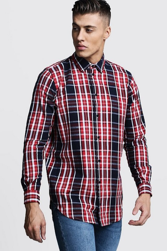 Longline Long Sleeve Red Check Shirt