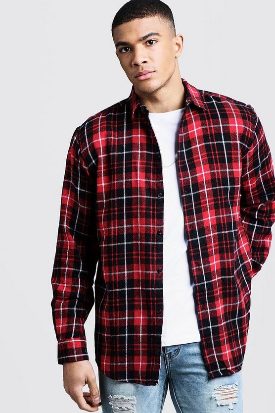 Oversized Long Sleeve Red Check Shirt