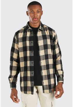 Oversized Long Sleeve Camel Flannel Check Shirt