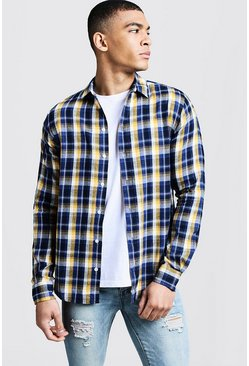 Mens Long Sleeve Blue And Yellow Check Shirt