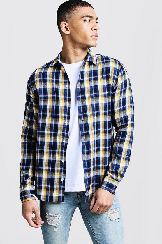 Long Sleeve Blue And Yellow Check Shirt