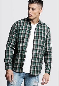 Mens Long Sleeve Green Check Shirt