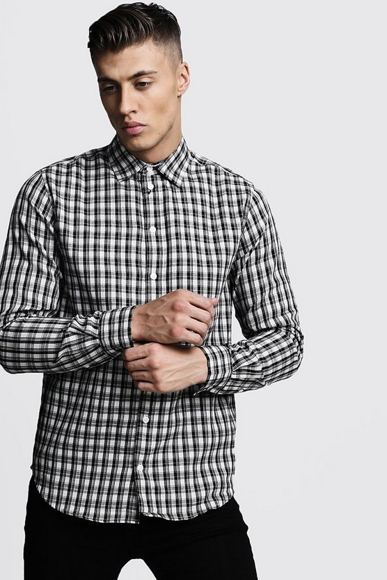 Black Long Sleeve Mono Check Shirt
