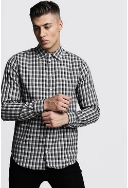 Mens Black Long Sleeve Mono Check Shirt