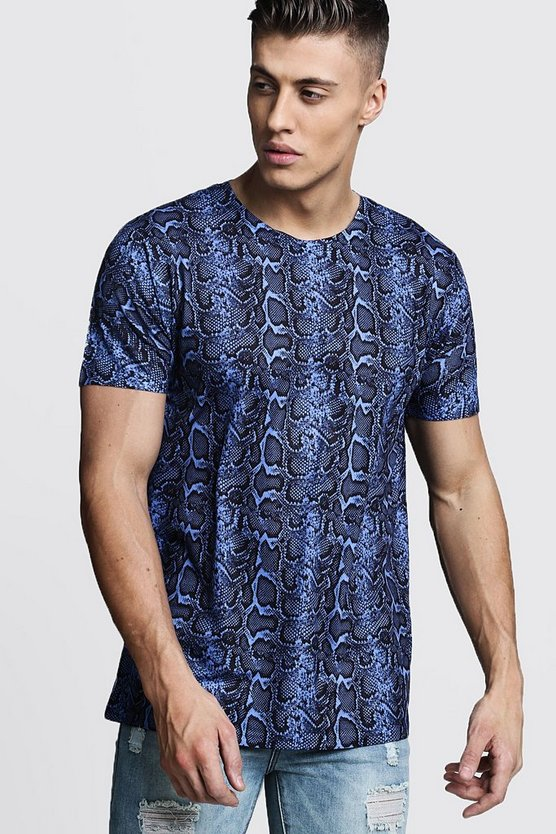 Loose Fit Snake Print Jersey Tee