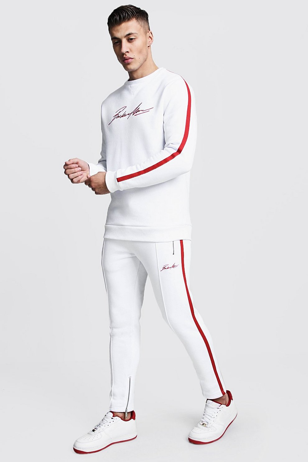 4699d804a8422 MAN Autograph Sweater Tracksuit With Tape - boohooMAN