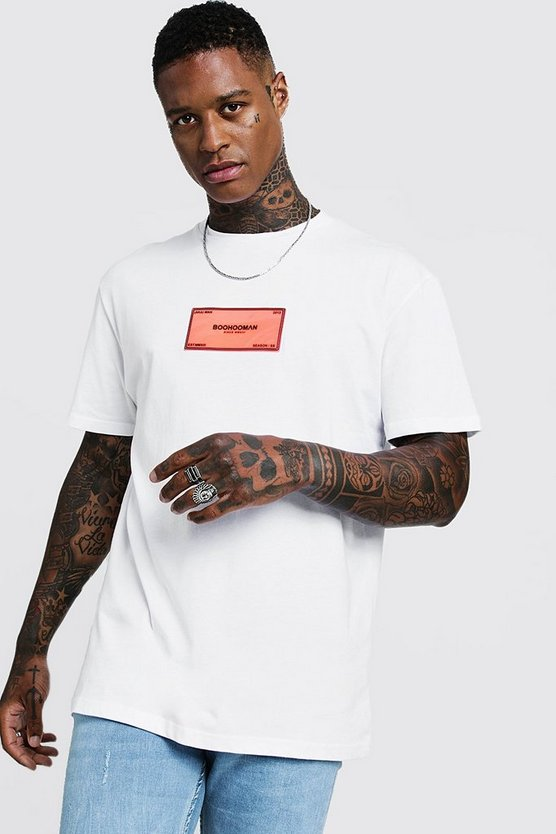 Mens White Loose Fit Rubberised MAN Badge T-Shirt