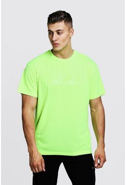 Mens Neon-green Oversized Neon MAN Autograph Loose Fit T-Shirt
