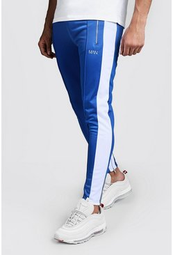 Mens Blue Original MAN Pintuck Panelled Tricot Super Skinny Joggers