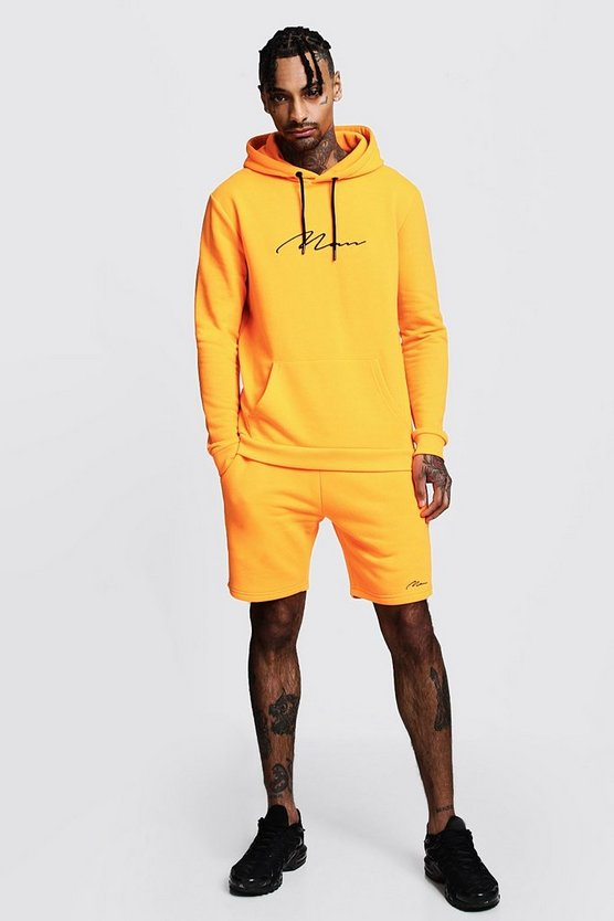Neon-orange Neon MAN Signature Hooded Short Tracksuit