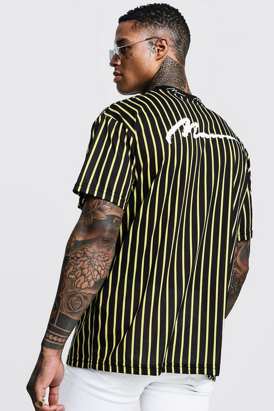 Mens Yellow Oversized MAN Ribbed Stripe Loose Fit T-Shirt