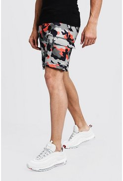 Mens Orange Camo Print Cargo Mid Length Short