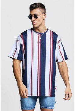 Mens Multi Oversized MAN Signature Stripe T-Shirt