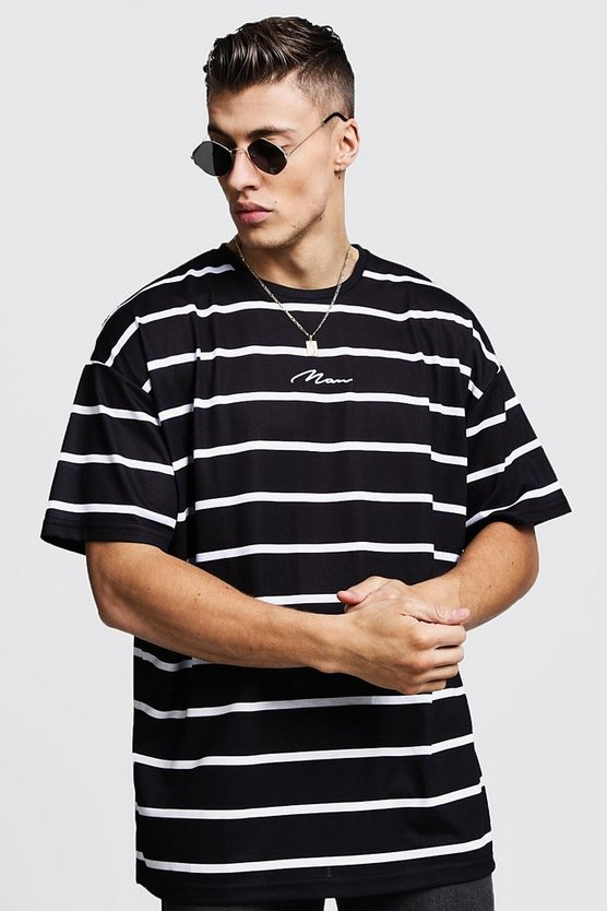 Oversized Stripe MAN Signature T-Shirt