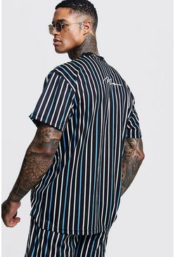 Mens Blue Loose Fit MAN Embroidered Stripe T-Shirt