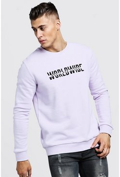 Mens Lilac Worldwide MAN Embroidered Sweater