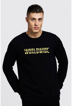 Mens Black Worldwide MAN Embroidered Sweater