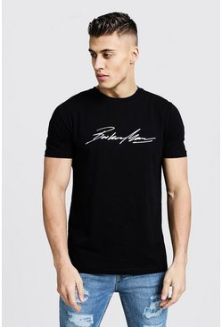 Mens Black MAN Autograph Iridescent Print T-Shirt