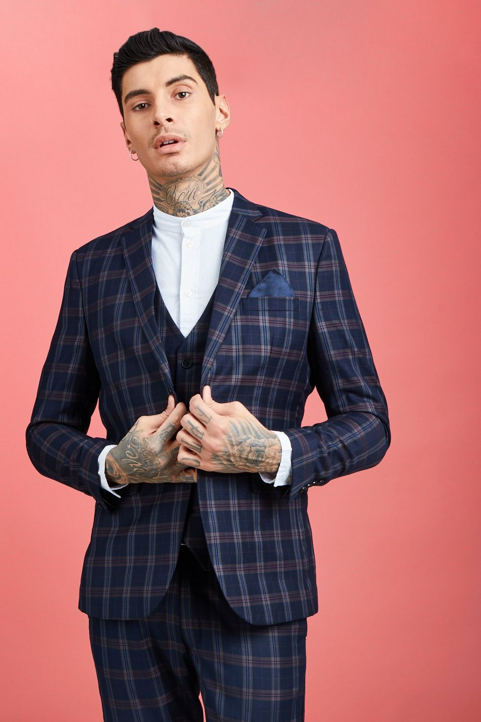 67d848cc180be Bold Classic Check Skinny Fit Suit Jacket - boohooMAN