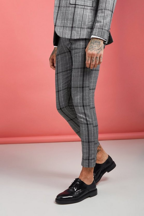 Mens Grey Jaspe Check Super Skinny Suit Trouser