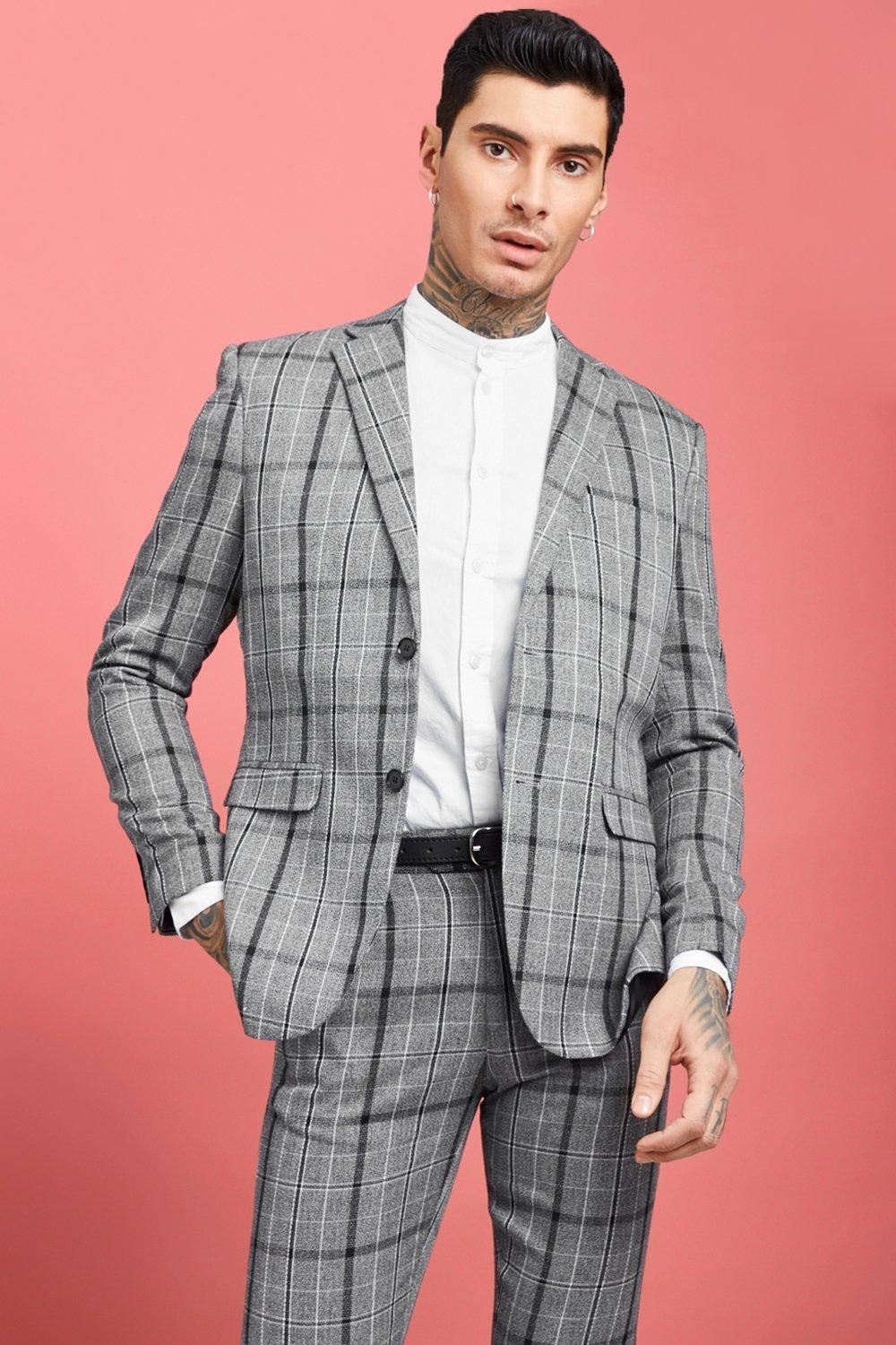 03d2c633e97c9 Mens Grey Jaspe Check Skinny Fit Suit Jacket. Hover to zoom