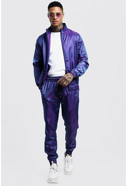Mens Purple Iridescent Track Top With Reflective Man Print