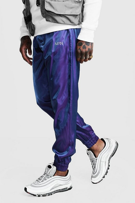 Purple Iridescent Joggers With Reflective MAN Print