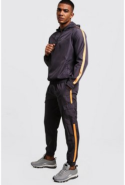 Mens Grey MAN Shell Half Zip Tracksuit With Tape