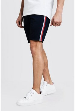 Navy Tape Detail Mid Length Tricot Short