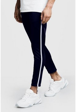 Mens Navy Tricot Tape Detail Cropped Jogger