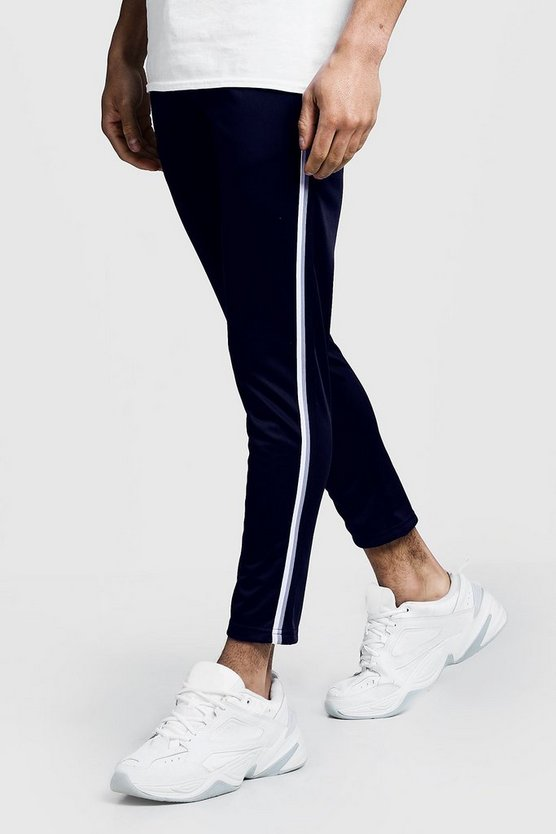 Tricot Tape Detail Cropped Jogger