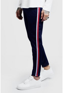 Mens Navy Side Tape Tricot Cropped Jogger
