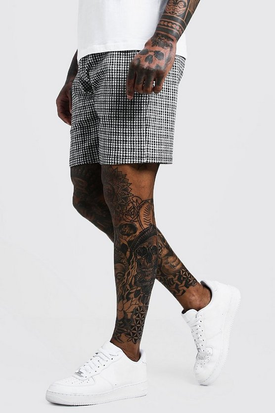 Gingham Mid Length Jersey Short