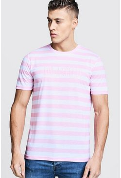 Mens Peach Crew Neck Stripe T-Shirt With Embroidery