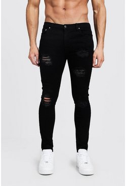 Mens Black Super Skinny Jeans With Heavy Distressing